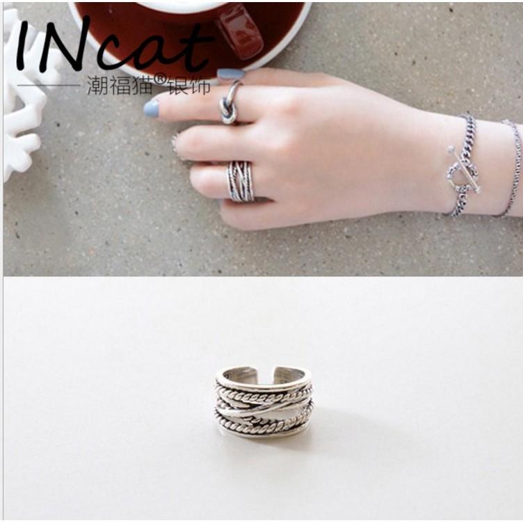 混拍三個起訂韓國 S925 純銀韓風亂繩紋麻花復古做舊 開口戒指戒子