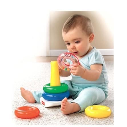 鎬媽布書布玩園彩虹套圈層層疊彩虹塔疊疊樂搖鈴嬰兒不倒翁益智玩具費雪FISHER PRICE