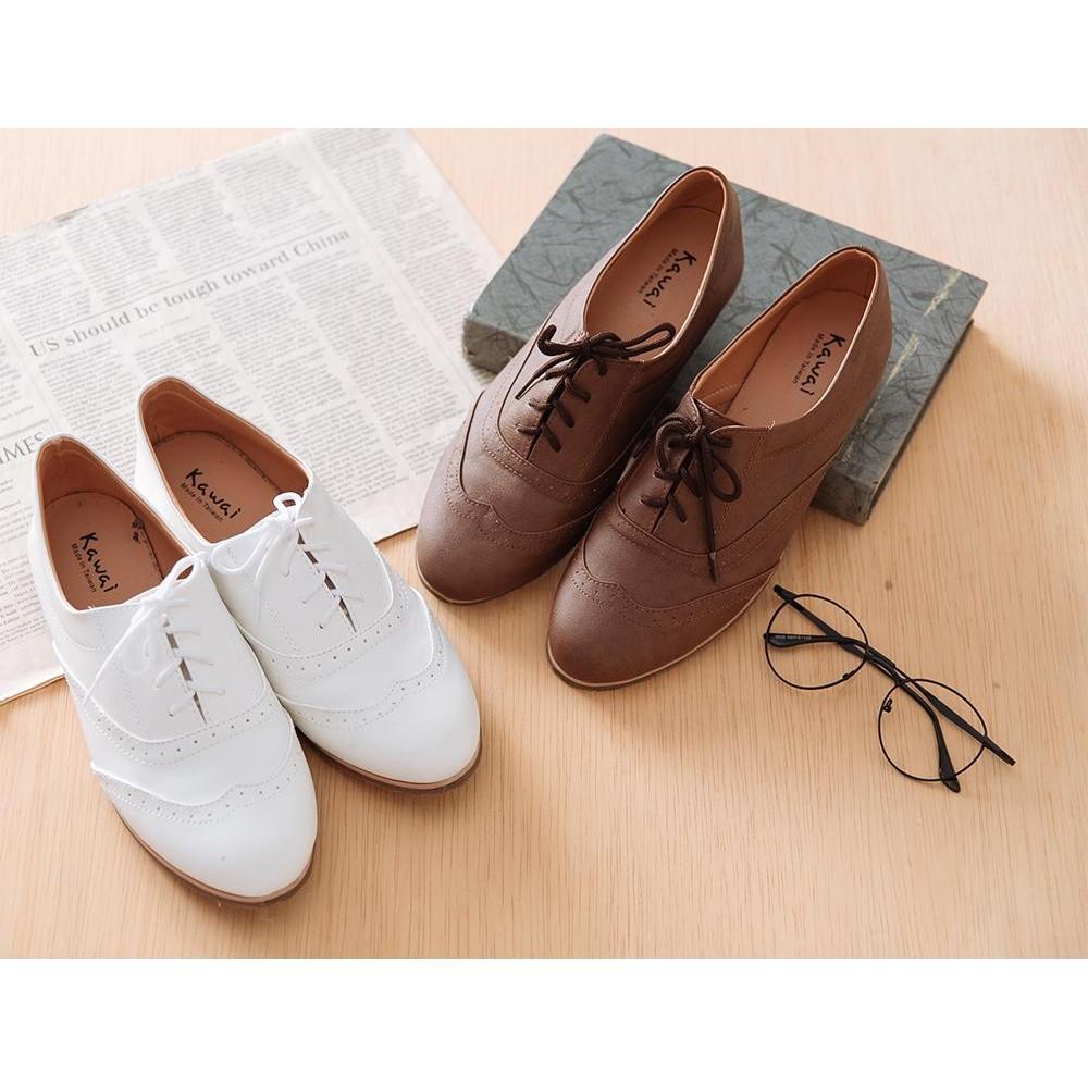 製簡約雕花牛津鞋樂福鞋學生鞋學院風綁帶牛津鞋紳士鞋皮鞋包鞋