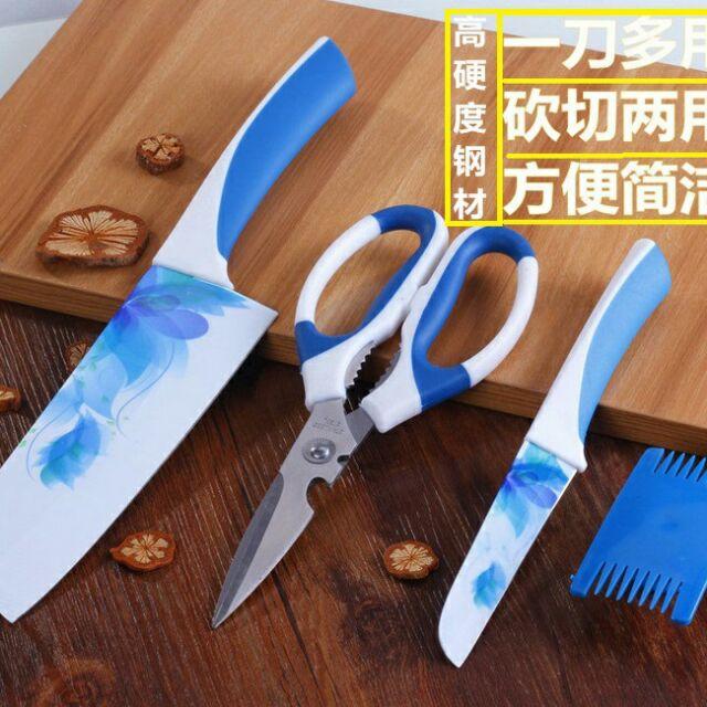 韓國家用陶瓷剪刀三件組韓國陶瓷刀四件組陶瓷菜刀刀具熟食刀水果刀削皮刀廚具廚房不鏽鋼