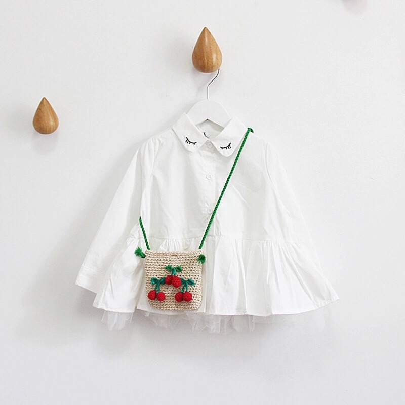 ▫️女童刺繡眉毛傘狀襯衫▫️內層紗