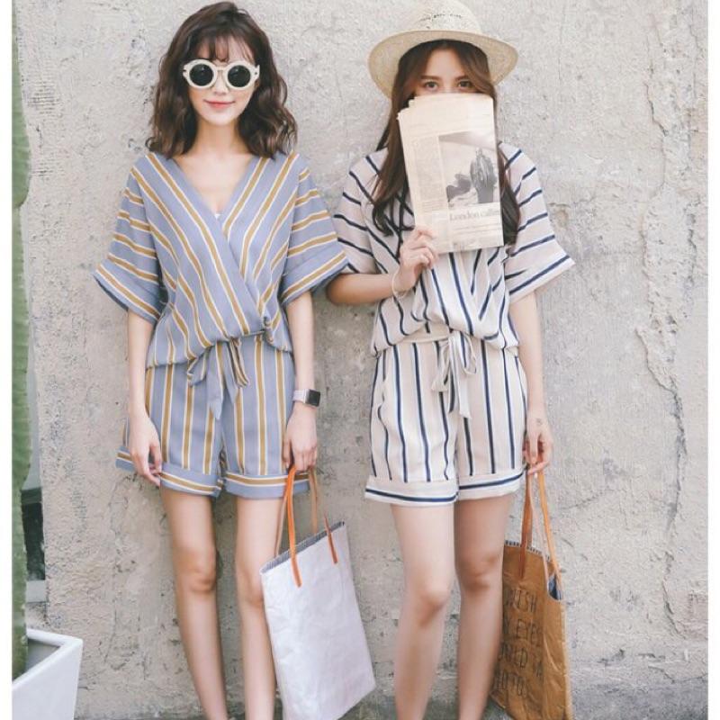 ❤️❤️韓系V 領條紋雪紡上衣鬆緊腰短褲套裝2 色