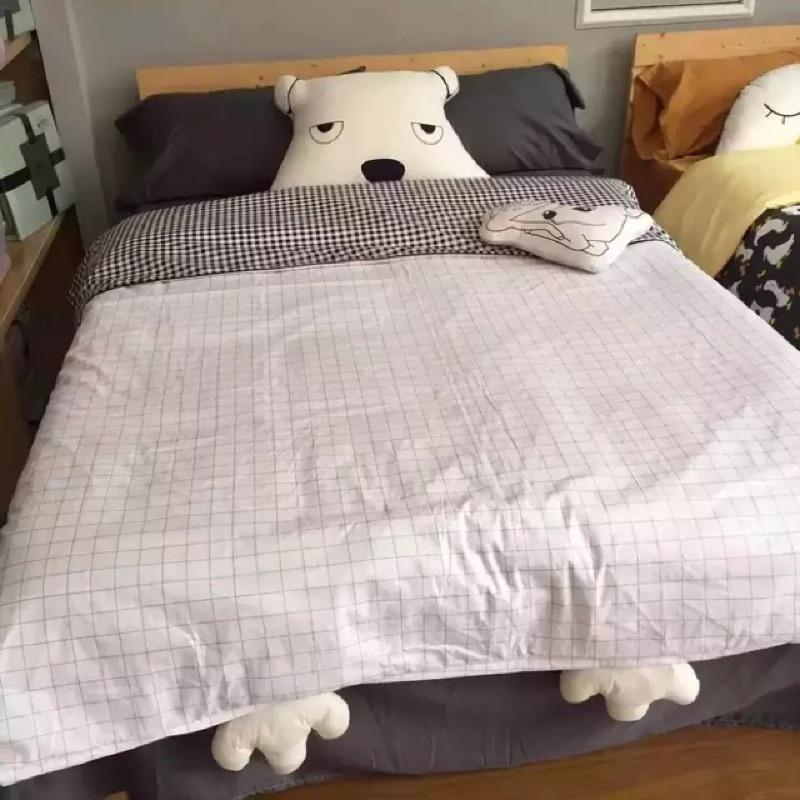 韓國ins 熊熊純棉卡通床包四件組床單被套枕套床組無印良品ikea zera 雙人床兒童簡