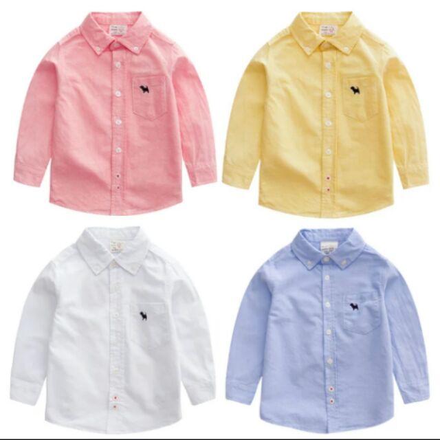 2016 春夏裝 男童素面襯衫上衣粉紅襯衫黃白藍色襯衫牛仔褲必搭款超 上衣