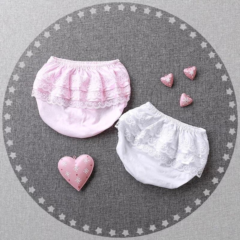 春夏款女寶寶蕾絲花邊三角短褲女嬰兒春裝棉質包屁褲小童女