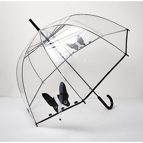 SECOND LOOK 英國品牌法國鬥牛犬彎把超可愛的透明傘