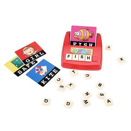 英文字母學習卡片看圖拼盤看圖片拼單詞桌游兒童益智玩具(讀卡機顏色 )