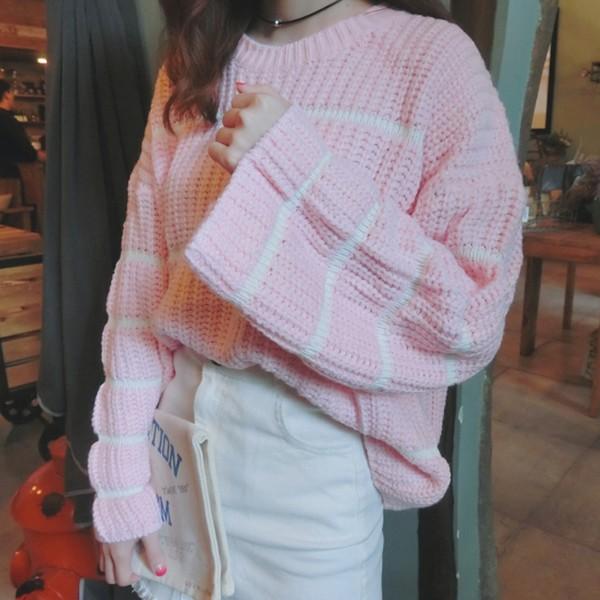 氣質款 寬鬆氣質條紋長袖毛衣喇叭袖針織衫長袖上衣針織