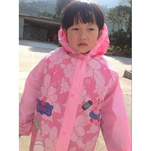 J E peppa pig 佩佩豬粉紅豬小妹兒童連帽雨衣雨披雨具