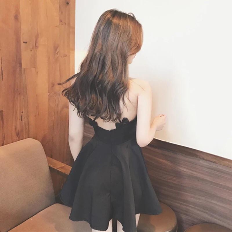 大露背性感甜美蝴蝶結吊帶可愛深v 爆乳小禮服背後交叉氣質連衣裙連身裙小洋裝短洋裝可愛洋裝甜