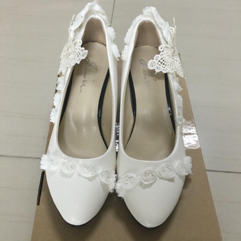 404 009 婚鞋細跟高跟鞋蕾絲新娘鞋伴娘鞋白色36