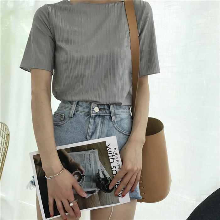 ▲ 價▲CC 短袖上衣▲實拍 韓國學院風百搭圓領純色暗條紋特殊面料短袖T 恤女