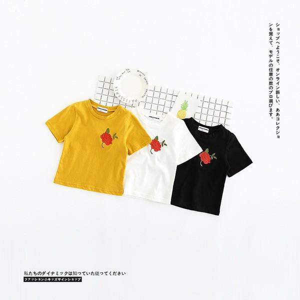 ~ ~女童花朵刺繡T 恤夏2017  兒童寶寶純色 上衣短袖打底衫