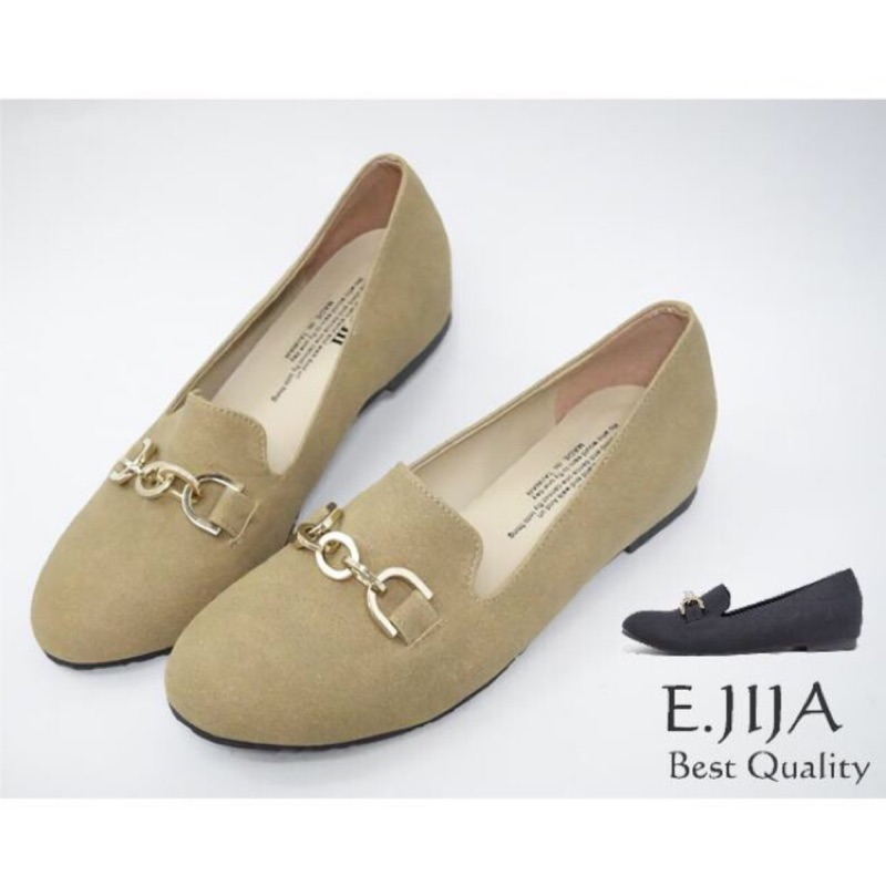 ❣MIT 氣質金屬圓環鍊飾平底休閒樂福鞋懶人鞋娃娃鞋包鞋