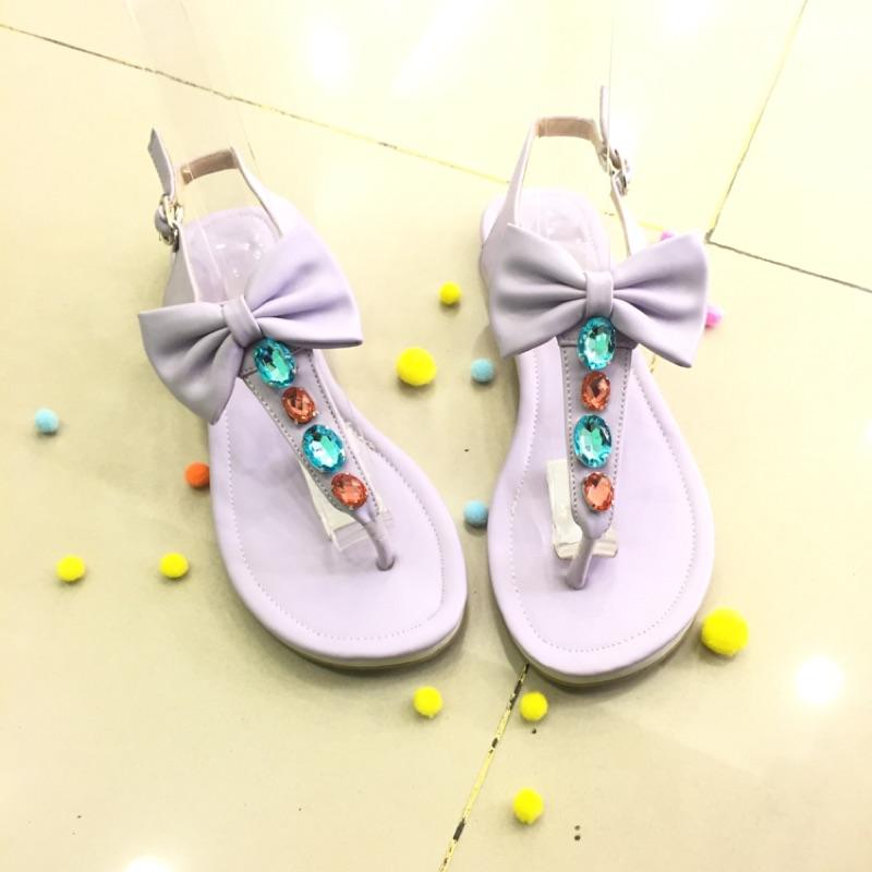 夏天 繽紛蝴蝶結水鑽平底夾腳涼鞋馬卡龍色粉紫色