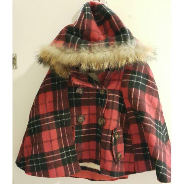 正韓女童紅格斗篷外套