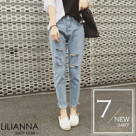~3487 ~~ 預~牛仔褲 磨破復古單寧牛仔褲~Lilianna 莉莉安娜
