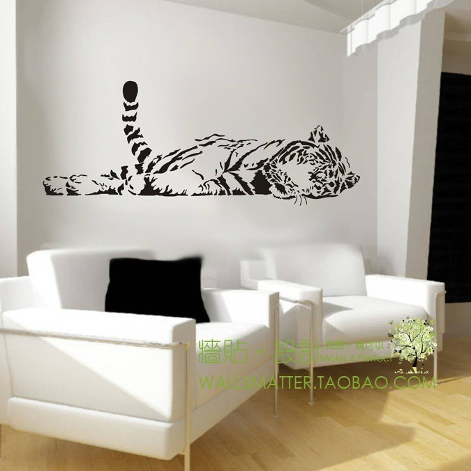!!壁貼動物老虎牆貼裝潢 可愛的臥室 防水沙發玻璃櫥裏的花紙裝潢家庭100 ×40cm