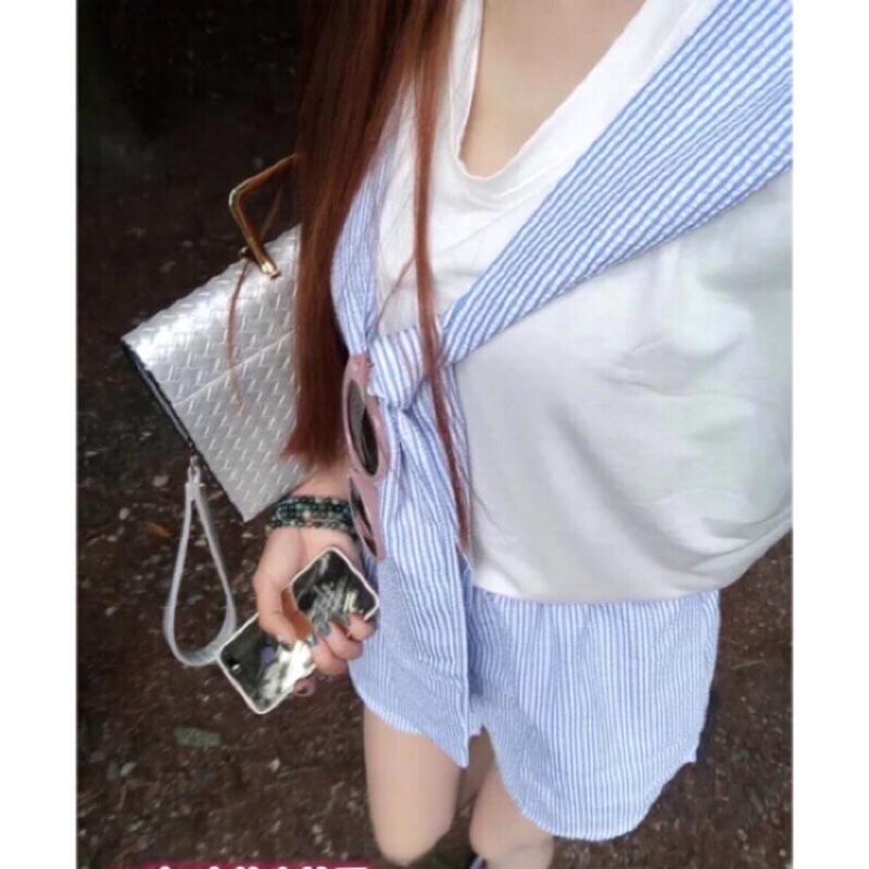 學院風套裝褲裙棉麻襯衫兩件式披肩外套寬鬆短T 連身褲休閒短袖上衣短褲短裙條紋拼接配色 排扣