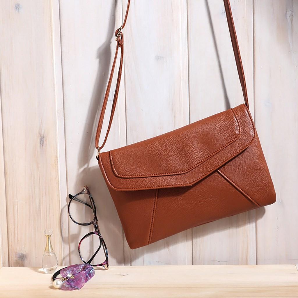 韓系百搭款❤純色簡約單肩包信封包(棕紅黑色)