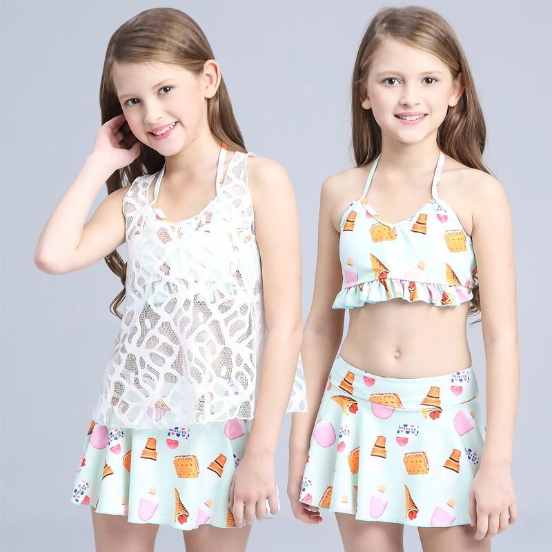 兒童泳衣女童裙式分體蕾絲比基尼三件套溫泉中大童女孩游泳裝