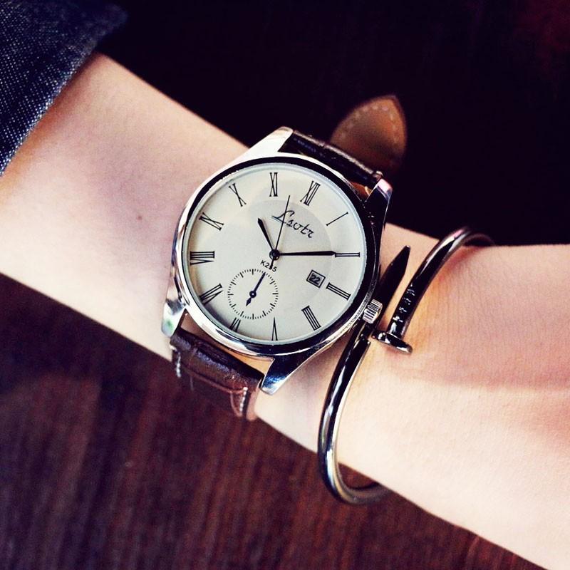 芊惠衣屋大表盤韓國中性潮流女表 皮帶男表學生情侶超薄防水石英手表