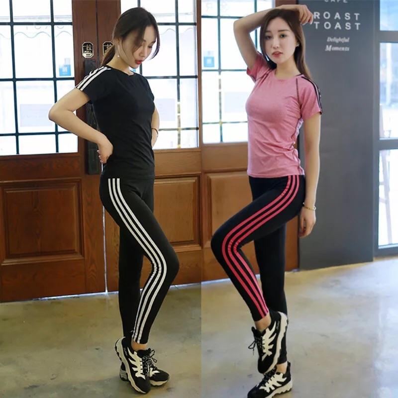 ❤️ 瑜伽服套裝健身短袖T 恤跑步 兩件套速乾顯瘦瑜伽長褲女❤️