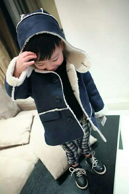 2016 男童加絨加厚小童冬款皮絨大衣中長款防風外套
