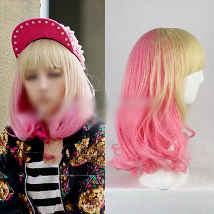 日常混色漸變粉色米黃短髮甜美女孩潮流捲髮bobo 頭梨花頭原宿假髮cosplay 天藍樹