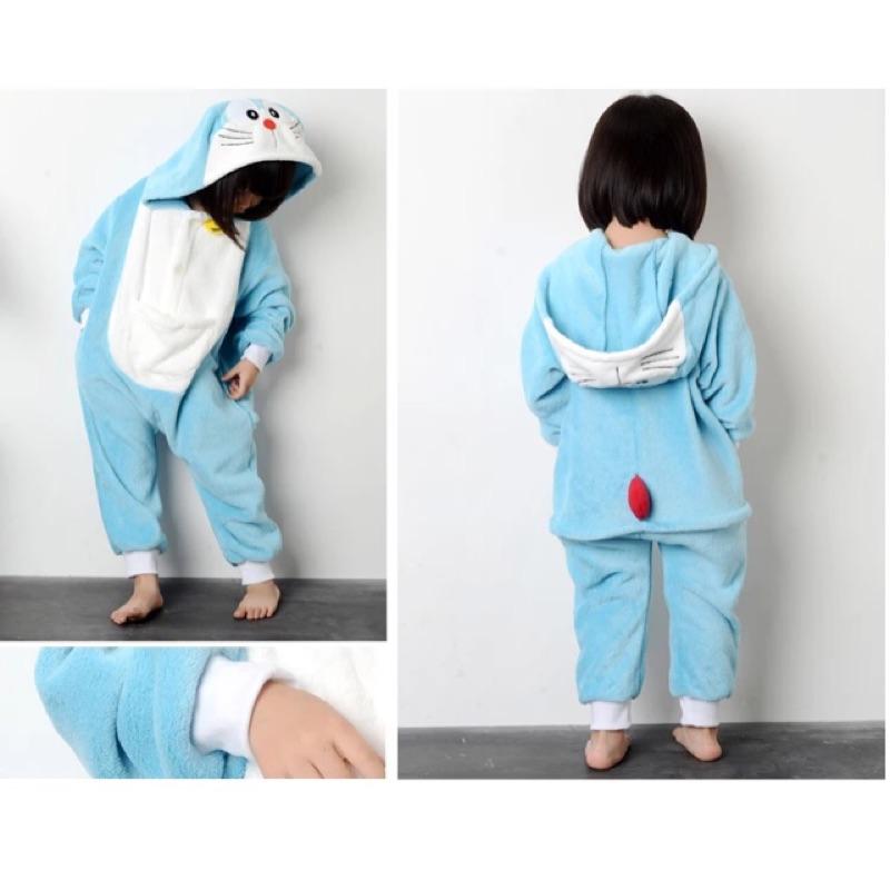 多拉a 夢連身衣法蘭絨居家衣小叮噹睡衣多拉a 夢睡衣百寶袋兒童保暖睡衣保暖連身衣