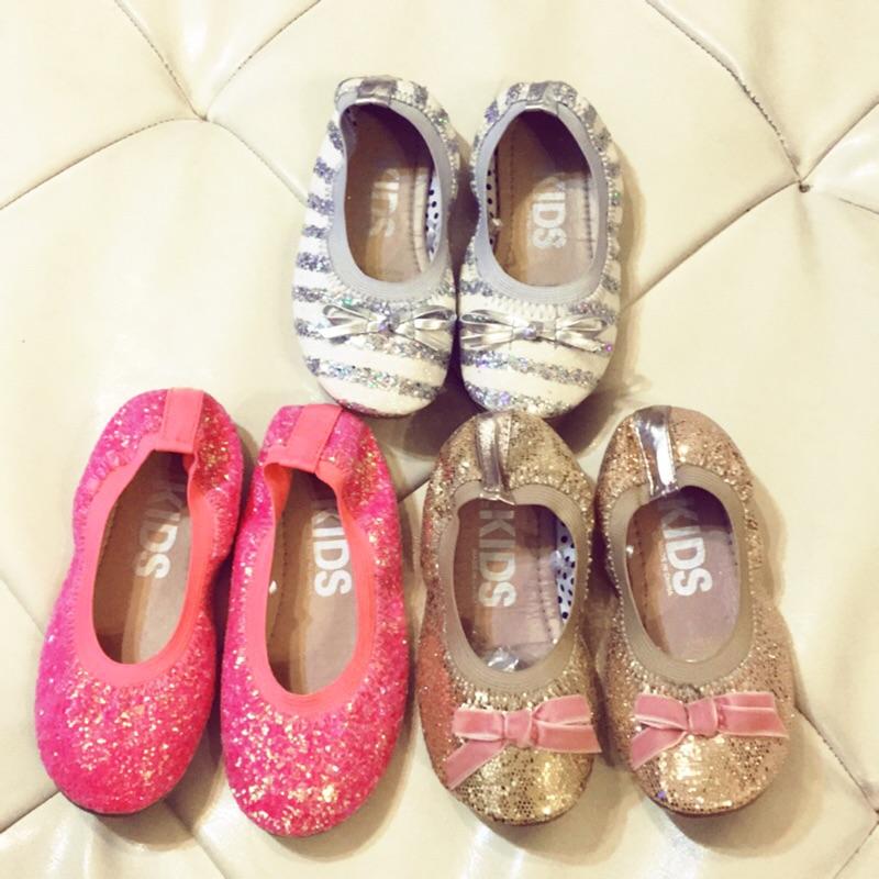 內長17 公分女童公主亮片娃娃鞋