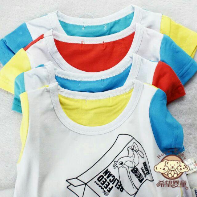 ( ) 兒童T 恤嬰兒短袖上衣男童T 恤A 類純棉T 圓領短袖