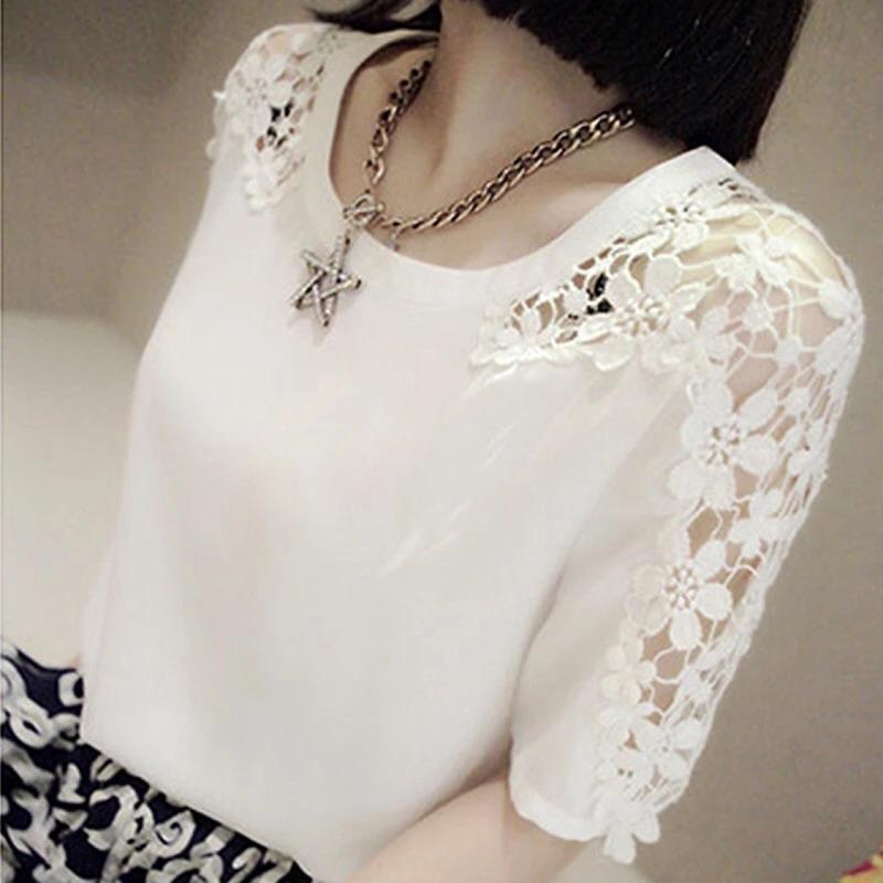 2016 春 短袖雪紡衫女勾花簍空半袖蕾絲衫顯瘦雪紡上衣女士花朵白色黑色