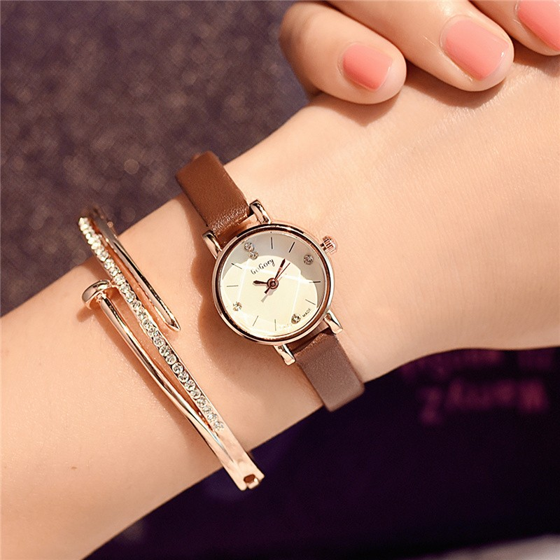 韓式女錶石英錶 百搭小圓形表盤簡約韓國女生手表細皮帶小巧 復古潮流女表