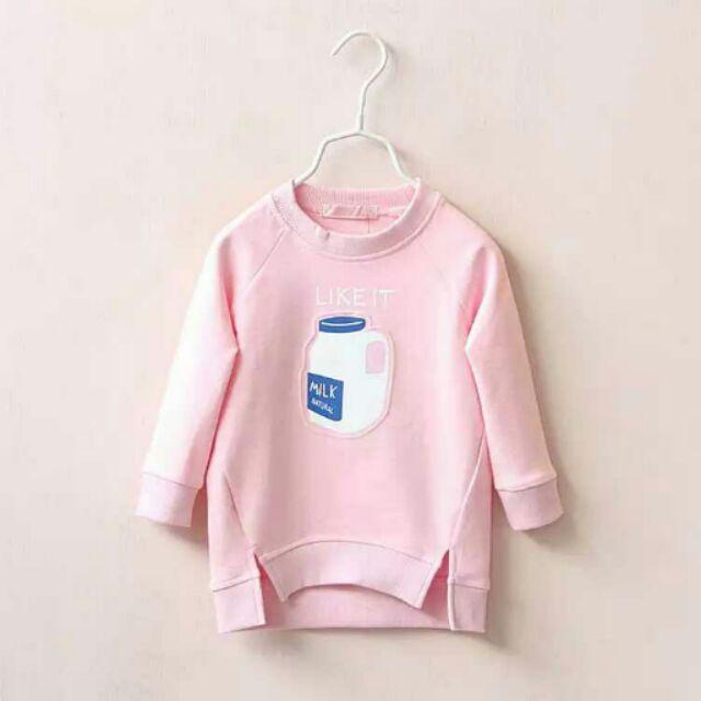 女童秋装2016 女童奶瓶印花不規則長款T 恤