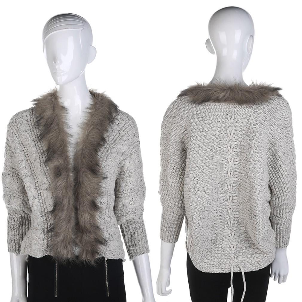 毛毛外套毛衣針織毛領披肩蝙蝠袖套衫