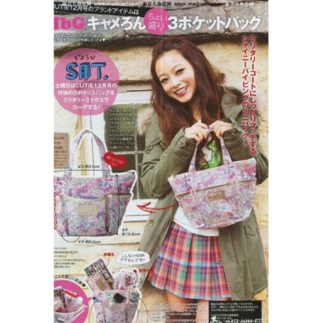 ( ) 雜誌型錄三格夾層附拉鍊防水尼龍手提袋媽媽包野餐袋
