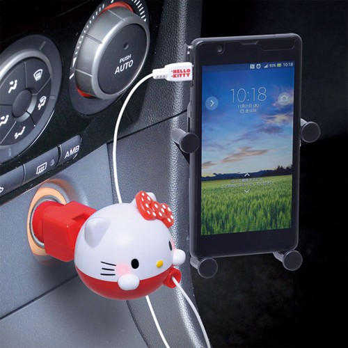 和霆車部品中和館— SEIWA Hello Kitty 收捲式車用MircoUSB 充 1