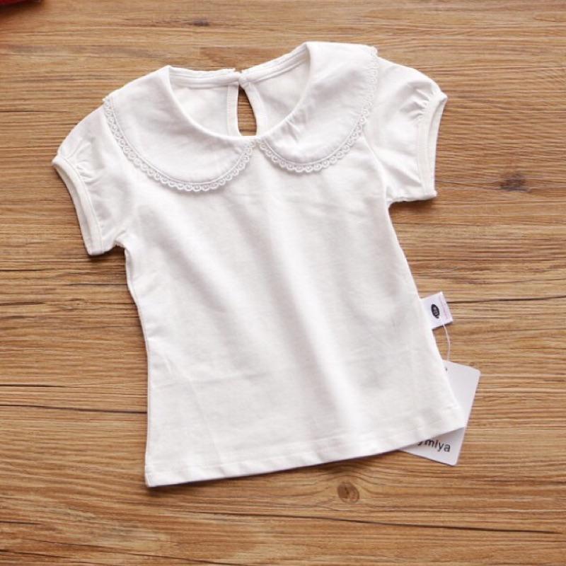 款❤女童寶寶單穿內搭公主袖翻領白色上衣春夏可 oshkosh 吊帶褲裙