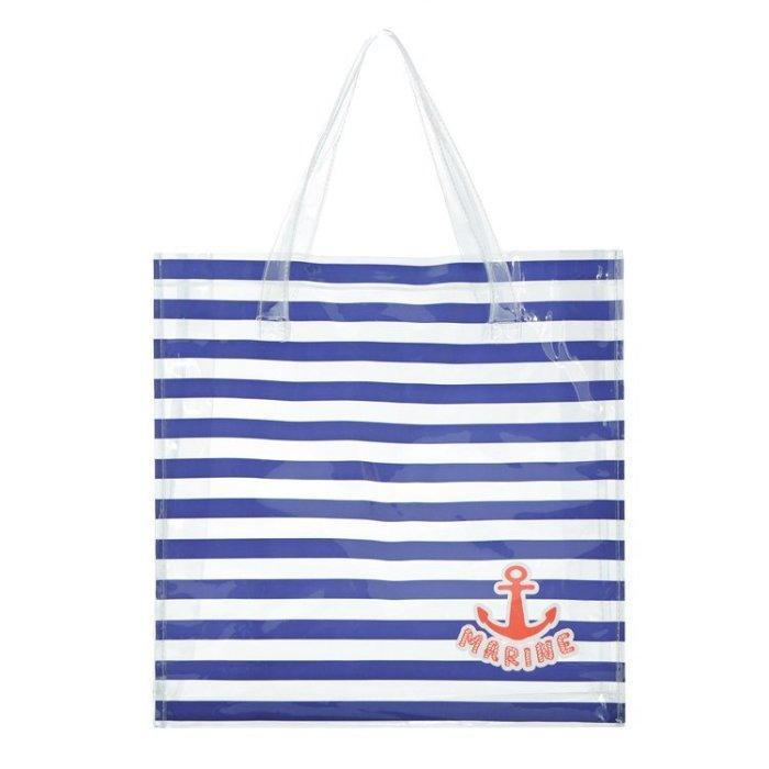 夏日marine 藍色條紋海軍風透明防水肩背包手提包手提袋