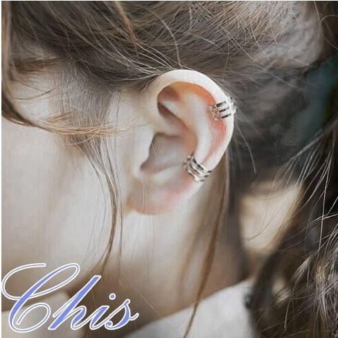 Chis Store ~多環圈圈層次耳夾~韓國925 純銀簡約風極簡單多層無耳洞耳環耳扣百