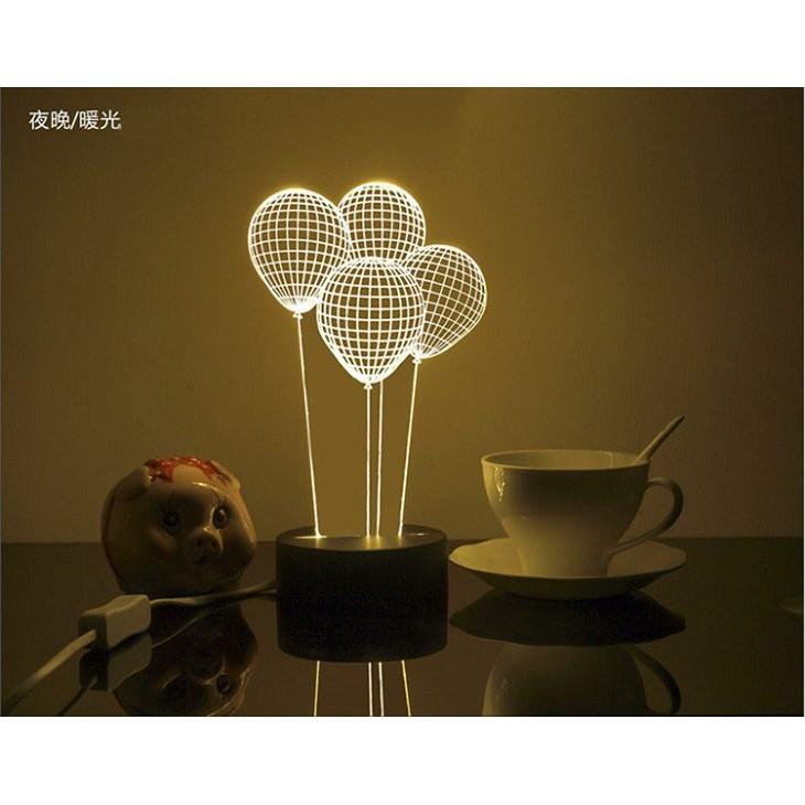 耶誕 跨年 生日 3D 立體LED 小夜燈檯燈天空之城巴黎鐵塔氣球小小兵史迪奇小熊維尼小貓