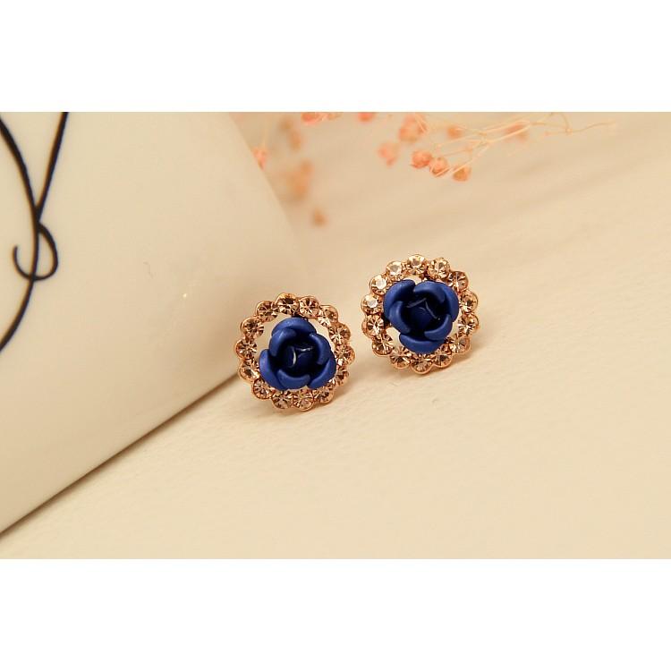 """~茉莉花""""~❤韓系氣質復古藍色玫瑰花純銀耳針❤"""
