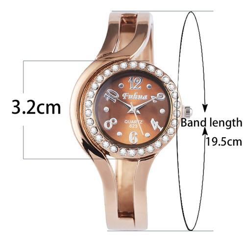 特別錶盤水鑽復古女士腕錶手鐲錶玫瑰金手錶