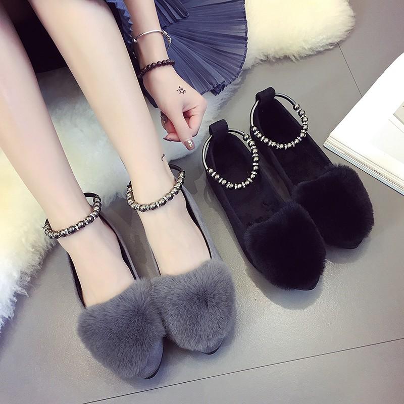 ☞☞☞ギケグn 南在南方2016  女鞋工作鞋黑色單鞋平跟串珠一字扣平底鞋女