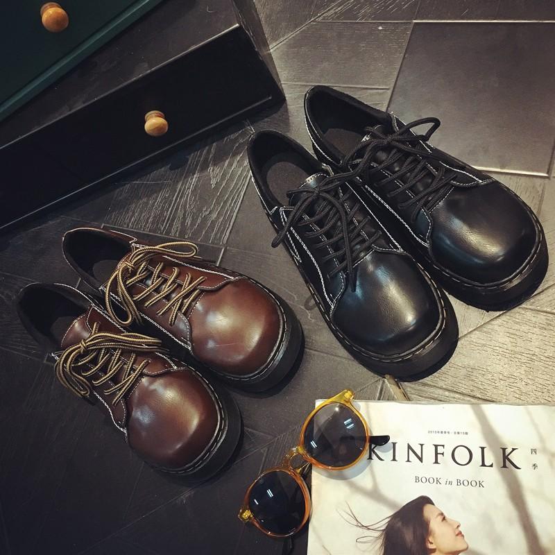 日系復古圓頭松糕厚底小皮鞋學院風英倫女單鞋韓國原宿學生