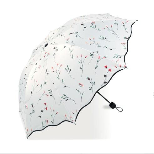 新品 韓國 小清新太陽傘防紫外線黑膠防曬遮陽傘三折疊女兩用晴雨傘
