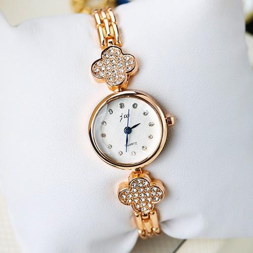 女性三葉草水晶鏈帶手錶
