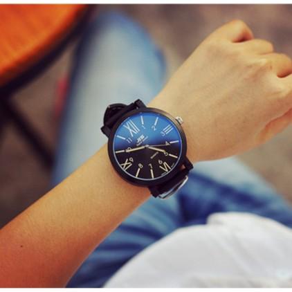 JIS 藍光玻璃大錶盤中性男女學生手錶復古 潮流 exo 石英表