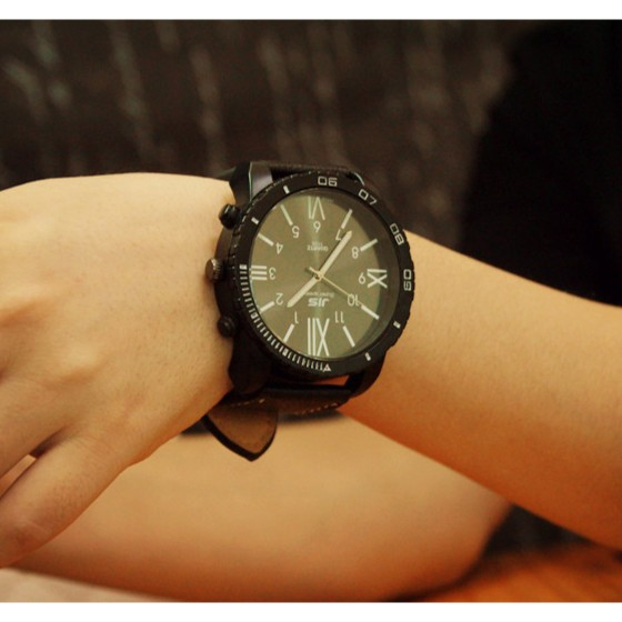 皮帶超大錶盤中性男女學生手錶復古 原宿風潮流 石英手錶